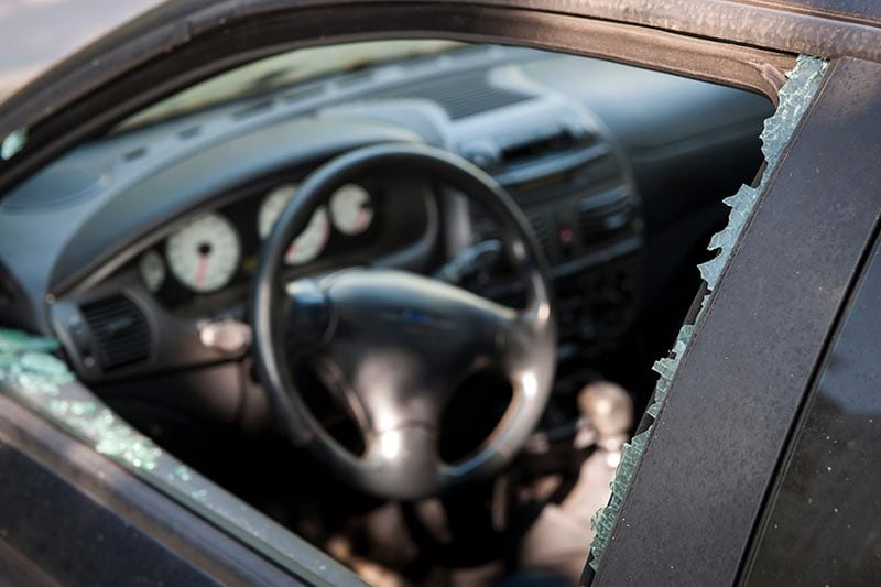 broken auto window glass